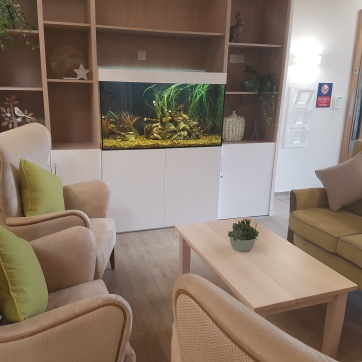 Seating area with fish tank